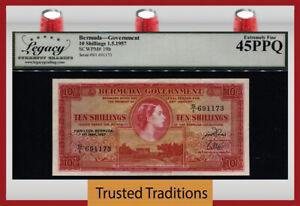 TT PK 19b 1957 BERMUDA 10 SHILLINGS QUEEN ELIZABETH II LCG 45 PPQ EXTREMELY FINE