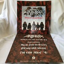 ANTHRAX Attack of Killer b's  2-sided 12 x 12 Promo LP Flat / Poster  -- RARE