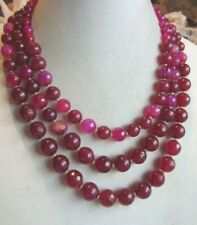 Three strand maroon colored acrylic and agate beaded necklace
