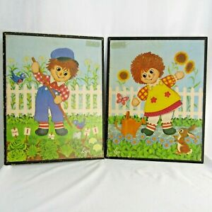 Vtg Raggedy Ann Andy Set 2 Lithograph Hanging Pictures Stapco By Lyn Rag Dolls