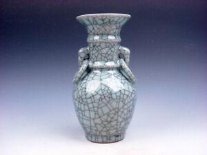 Vintage Crackle Celadon Hand Crafted Unique Shaped Vase w/ 2 Handles #04142004