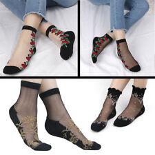 Women Ladies Crystal Lace Glass Silk Short Thin Rose Transparent printing Socks