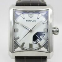 MINASE FIVE WINDOWS VM03-L04SD Automatic White dial Stainless Leather Men's