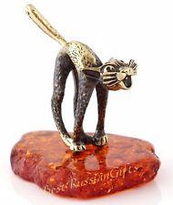 Brass Cat Miniature Figurine Sculpture Honey Baltic Amber Base Russian Souvenir