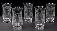 Set (5) ROSENTHAL SANSOUCCI Etched Crystal Highball Glasses 10oz