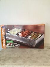 Nostalgia Electrics 3-Station Stainless Steel Buffet Warmer & Serving Tray