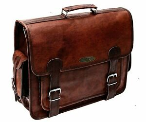 Handmade Vintage Goat Leather Messenger Briefcase Laptop Satchel Shoulder Bag
