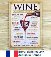 Plaque métal Decoration Cuisine CAVE VIN Bordeaux Bourgogne Beaujolais Cepage