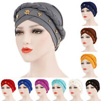 Wrap Head Scarf Milk Silk Cancer Chemo Hat Muslim Women Turban Cap Beads Braid