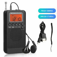 Portable Pocket AM/FM 2Way LCD Telescopic Antenna Battery Powered Radio Receiver
