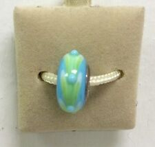 Fenton Art Glass Jewelry Green Blue I Love Lily Pads Glass Bead Charm New