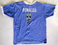 VTG Nike #9 RONALDO Brazil World Cup Player Football Soccer Jersey Blue Large L