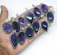 Natural Amethyst Gemstone 925 silver plated locket/pendants Lot 1pcs BDE-030