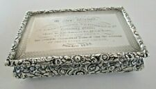 Large Solid Silver Snuff Box, Dundee Spinning Mills Interest, Birmingham 1829