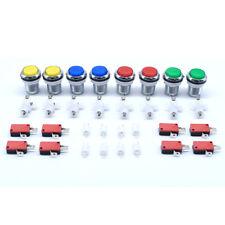 8 Pcs 30mm Arcade Chrome Plated 12V Illuminated LED Push Buttons MAME JAMMA Game