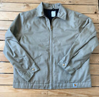Carhartt Men's full zip Quilted Lined Denim  Jacket Size XL Tan