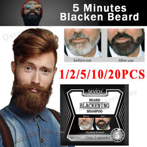 1-20Pcs Sevich Men's Beard Hair Color Dye Tint Cream Mustache Blackening Shampoo