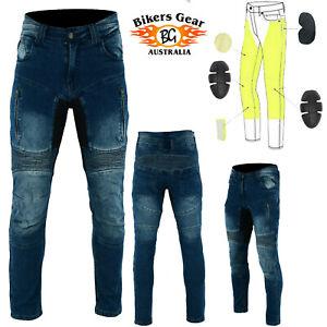 Biker Gear AUST Motorcycle Racing Stonewash Blue Denim Jeans Lined with Kevlar