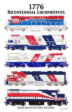 "Bicentennial Locomotives Poster #4  11""x17"" Poster by Andy Fletcher signed"