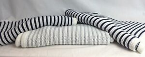 Bundle 3 x Baby Blankets Stripe Knitted Style 2 x Navy 1 x Grey Acrylic V378
