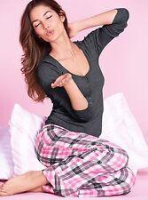 VICTORIA'S SECRET THE DREAMER HENLEY PJ SET XL GRAY PINK PLAID Women's pants top