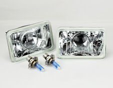 "4x6"" Halogen Semi Sealed H4 Clear Projector Glass Headlights Conversion w/ Bulbs"