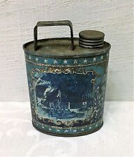 SMALL Size Antique Lourdes Holy Water Tin Bottle Flask Can ND French Christian