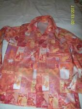 Original Hand sewn victorian print adult button down shirt disco era