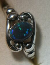 Sterling Ring with Small 0.68 ct Green, Teal, and Blue Natural Black Opal