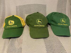 Lot Of 3John Deere Hats Yellow Trucker, Green Owners Edition, Green Snapback