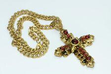 Lawrence Vrba XL Gold Tone Faux Rubies Cross worn at MET GALA