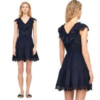 Rebecca Taylor Mariana Ruffled Gauze & Eyelet Blue Dress Size 6 RET $375