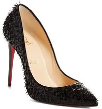 $745 Christian Louboutin Pigalle Follies Crow Patent Red Sole Pump Black 37 6.5