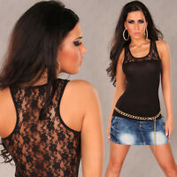 NEW SEXY LADIES SINGLET TANK TOP SZ 6 8 10 WITH LACE BACK ~ CASUAL/CLUB/PARTY
