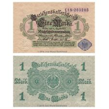 1914 Germany 1 Mark Banknote-Blue Seal-UNC Condition- 18-225