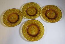 Tiara Amber Glass Nursery Rhyme Dishes Set of 4 Bo Peep 3 Bears Piggy Market
