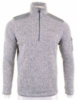 EDDIE BAUER Mens Zip Neck Jumper Sweater Medium Grey Polyester GI03