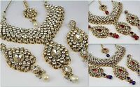 Gold Plated wedding Indian Jewelry women Necklace Earring Tikka Set fashion new