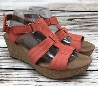 Womens CLARKS Orange Cork Platform Wedge Heel Ankle Strap Sandals SIZE 11 M