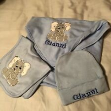 New Personalized Embroidered 100% Cotton Baby Bib, Receiving Blanket And Cap