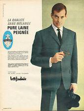 Publicité 1963  Costume Belle Jardinière PURE LAINE PEIGNEE pret à porter mode