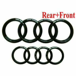 Set Front & Rear Grille Badge Rings Logo Emblem Black Gloss for Audi A3 A5 A4 A6