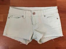 NWOT Refuge Charlotte Russe Mint Green Denim Raw Edge Hem Low Rise Shorts Size 0