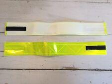 "2 3M Scotchlite Fluorescent Yellow Reflective Armbands 16""x2"" Runner Bike Safety"