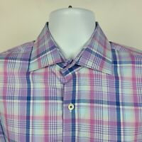 Peter Millar Purple Blue Plaid Check Mens Dress Button Shirt Size Large L