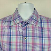 Peter Millar Purple Blue Plaid Check Mens Dress Button Shirt Size Large L