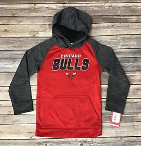 Boys Kids NBA Chicago Bulls Pull Over Hoodie Sweater Red Grey Size Small 6/7