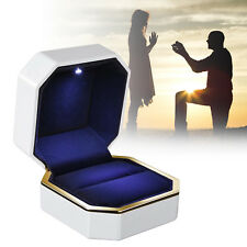 Luxury Jewelry Ring Box Holder with LED Light Wedding Proposal Engagement Gift