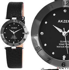 Damen Armbanduhr Schwarz/Silber Cutglas Kunstleder-Armband 3 ATM von AKZENT
