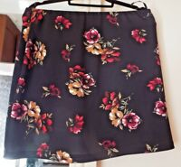 DOROTHY PERKINS FLORAL BLACK / RED SKIRT SIZE 14 BNWT